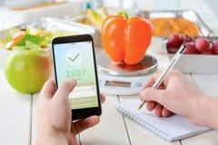 Apple en calorie tegenapp royalty-vrije stock foto's