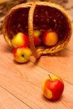 Apple en een mand Stock Foto's