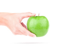 Apple en la mano Imagenes de archivo