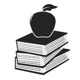 Apple en los libros stock de ilustración