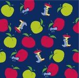 Apple-Endlosschraube in einem roten Apfel stock abbildung
