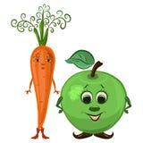 Apple et carottes, couples drôles, légumes et fruits illustration de vecteur