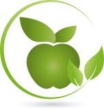 Apple et feuilles dans vert, mangeant le conseil et mangeant le logo Photo stock