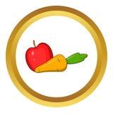 Apple et la carotte dirigent l'icône, style de bande dessinée illustration de vecteur