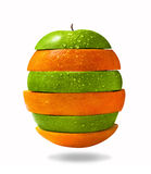 Apple et parts oranges Photographie stock
