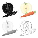 Apple et une carotte Consommation saine pour des athlètes L'icône simple de gymnase et de séance d'entraînement dans la bande des illustration de vecteur