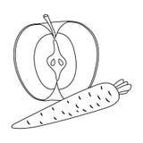 Apple et une carotte Consommation saine pour des athlètes L'icône simple de gymnase et de séance d'entraînement dans le contour d Photographie stock
