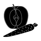 Apple et une carotte Consommation saine pour des athlètes L'icône simple de gymnase et de séance d'entraînement dans le style noi Photo stock