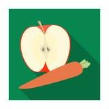 Apple et une carotte Consommation saine pour des athlètes L'icône simple de gymnase et de séance d'entraînement dans le style pla Photo libre de droits