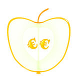 Apple with euro seeds Royalty Free Stock Image