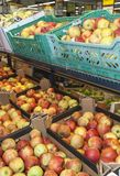 Apple exposed for sale in supermarket Stock Photo