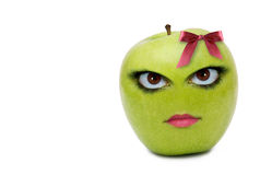 Apple with a face Stock Photo