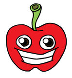 Apple Face Black and White. Vector line illustration of an apple head smiling Stock Photography