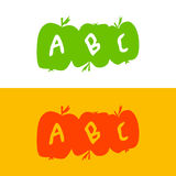 Apple a fait des lettres d'alphabet ABC instruisent des pommes Développement o Photos libres de droits