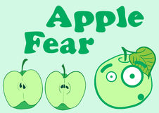 Apple fear. Illustration with the scared apple and a section apple vector illustration