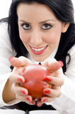 apple female holding Στοκ εικόνα με δικαίωμα ελεύθερης χρήσης