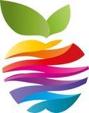 Apple fez das ondas em cores do arco-íris, em maçã e em logotipo do pintor ilustração royalty free