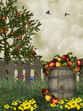 Apple fields. Fruits and flowers cultivated in the field in spring Royalty Free Stock Images