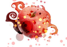 Apple in file. Apple with abstract flowing heat Royalty Free Stock Photography
