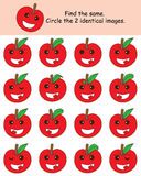Apple find the same. Illustration drawing design apple find the same apple graphic white color background cute happy smile apples royalty free illustration