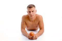 apple fit laying man Στοκ Εικόνα