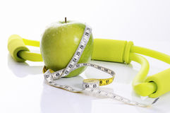 Apple, fitness and nutrition spirit Stock Images
