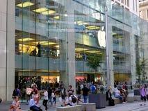 Apple Flagship Store, George Street Sydney, Australia. The multi level modern Apple flagship store or shop in George Street, Sydney central business district Royalty Free Stock Photo