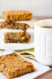 Apple flapjacks and cup of tea Royalty Free Stock Image