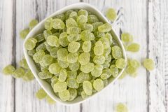Apple flavoured gummy candy (close-up shot). Apple flavoured gummy candy (close-up shot; selective focus Royalty Free Stock Image