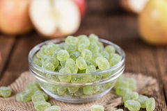 Apple flavoured gummy candy close-up shot. Selective focus Stock Photos