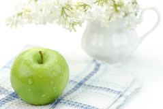 Apple with flower Stock Image