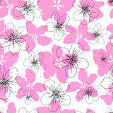 Apple flower blossom hand drawn isolated on white background, seamless vector floral pattern, pink sakura outline art Royalty Free Stock Photo