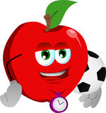 Apple with football or soccer ball Stock Image