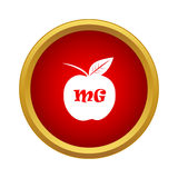 Apple with formula icon, simple style Stock Photography