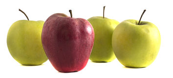 Apple. Four apples on a white background Royalty Free Stock Photo