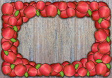 Apple frame on wooden wall for thanksgiving Royalty Free Stock Image