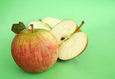 Apple fresh. Whole and halved fresh apples Royalty Free Stock Photos