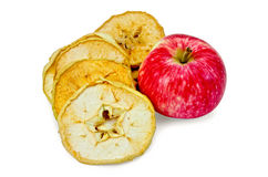 Apple fresh red and slices of dried Royalty Free Stock Images