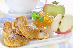 Apple fried in pancake batter Stock Images