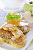 Apple fried in pancake batter Royalty Free Stock Images