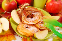 Apple fritters for child royalty free stock images