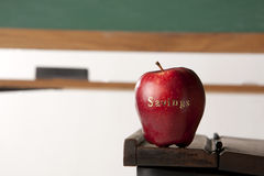 Apple in front of blackboard Stock Image
