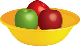 Apple Fruit Bowl Illustration. Apples in a bowl Stock Photo