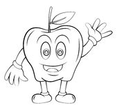 Apple Fruit Cartoon Stock Image