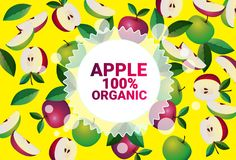 Apple fruit colorful circle copy space organic over fresh fruits pattern background healthy lifestyle or diet concept. Vector illustration royalty free illustration