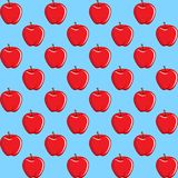 Apple fruit contour abstract seamless pattern on aqua blue background Royalty Free Stock Image