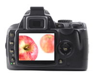 Apple fruit in digital camera Stock Photo