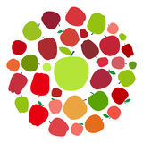apple fruit flat icon set in an circle, vector illustration Stock Photography