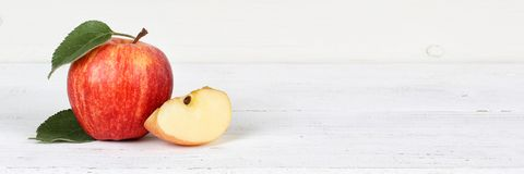 Apple fruit fruits red banner copyspace on wooden board Stock Photo