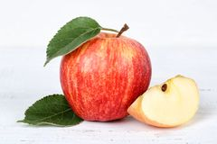 Apple fruit fruits red on wooden board Stock Photos